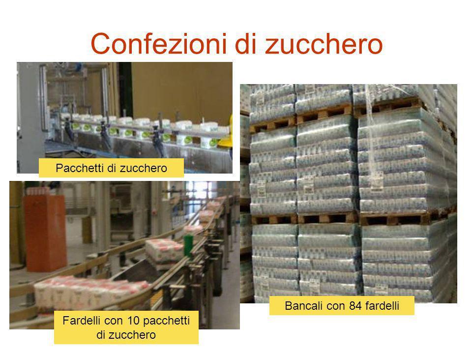 Confezioni di zucchero Fardelli con 10 pacchetti di zucchero Bancali con 84 fardelli Pacchetti di zucchero