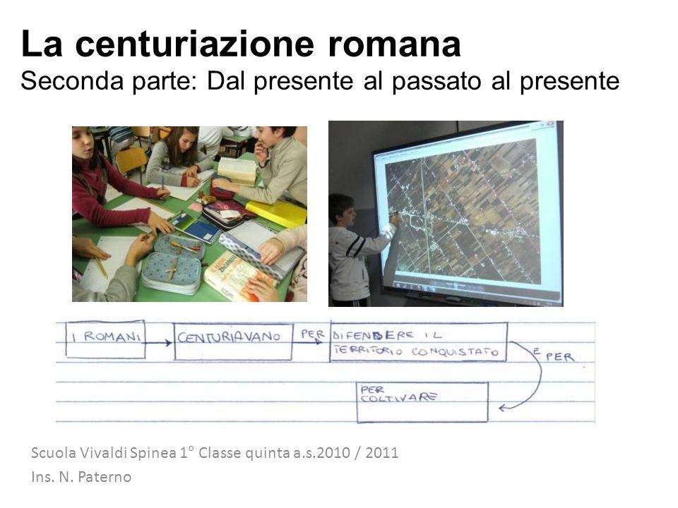 La centuriazione romana Seconda parte: Dal presente al passato al presente Scuola Vivaldi Spinea 1° Classe quinta a.s.2010 / 2011 Ins. N. Paterno