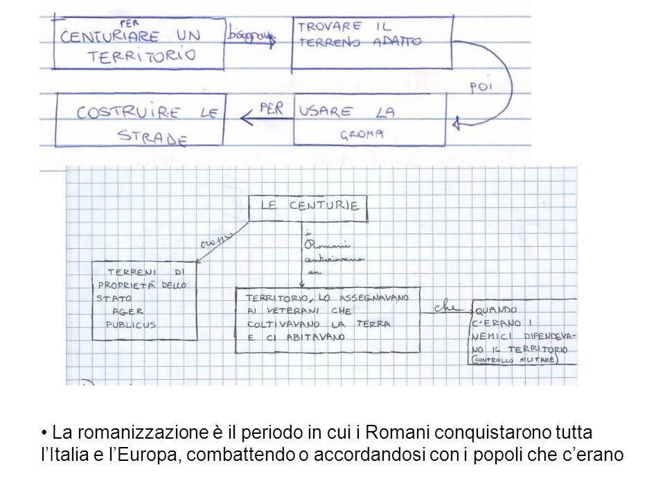 La romanizzazione è il periodo in cui i Romani conquistarono tutta lItalia e lEuropa, combattendo o accordandosi con i popoli che cerano