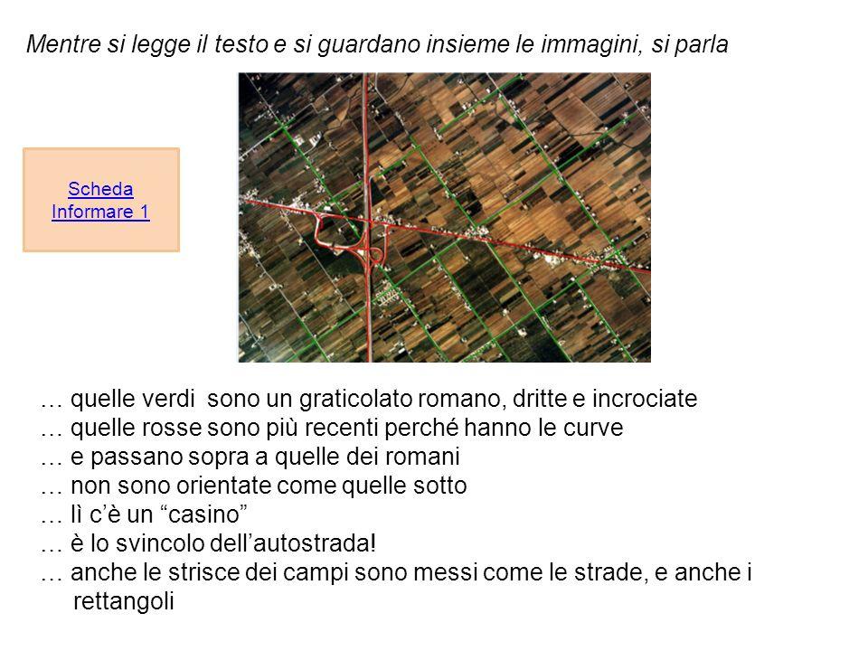 Mentre si legge il testo e si guardano insieme le immagini, si parla Scheda Informare 1 … quelle verdi sono un graticolato romano, dritte e incrociate