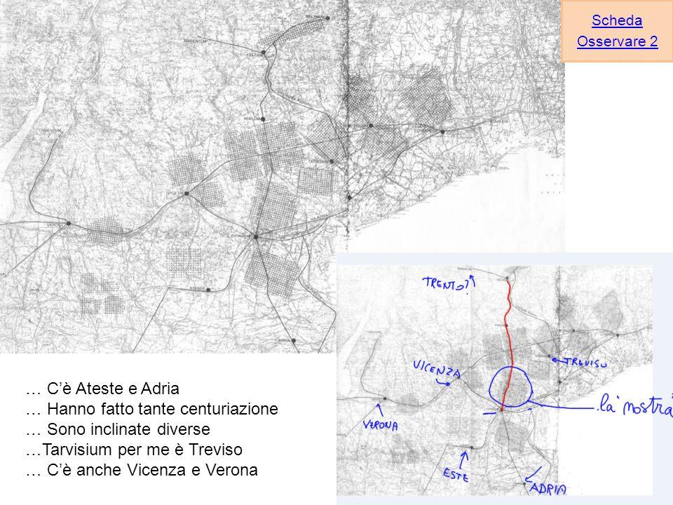 … Cè Ateste e Adria … Hanno fatto tante centuriazione … Sono inclinate diverse …Tarvisium per me è Treviso … Cè anche Vicenza e Verona Scheda Osservare 2