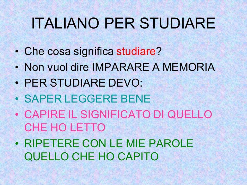 ITALIANO PER STUDIARE Che cosa significa studiare.