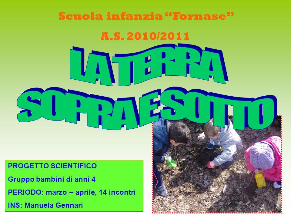 Scuola infanzia Fornase A.S. 2010/2011 PROGETTO SCIENTIFICO Gruppo bambini di anni 4 PERIODO: marzo – aprile, 14 incontri INS: Manuela Gennari