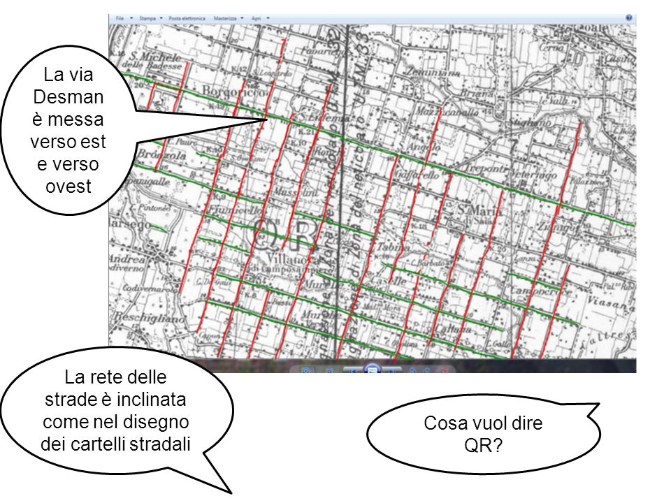 La via Desman è messa verso est e verso ovest La rete delle strade è inclinata come nel disegno dei cartelli stradali Cosa vuol dire QR?