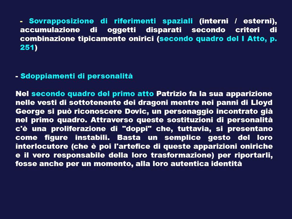 - Sovrapposizione di riferimenti spaziali (interni / esterni), accumulazione di oggetti disparati secondo criteri di combinazione tipicamente onirici
