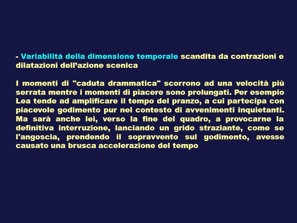 - Variabilità della dimensione temporale scandita da contrazioni e dilatazioni dellazione scenica I momenti di