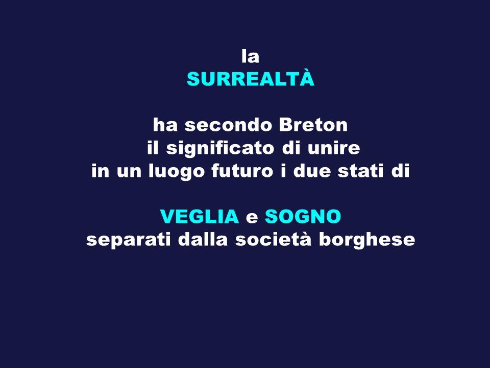 la SURREALTÀ ha secondo Breton il significato di unire in un luogo futuro i due stati di VEGLIA e SOGNO separati dalla società borghese