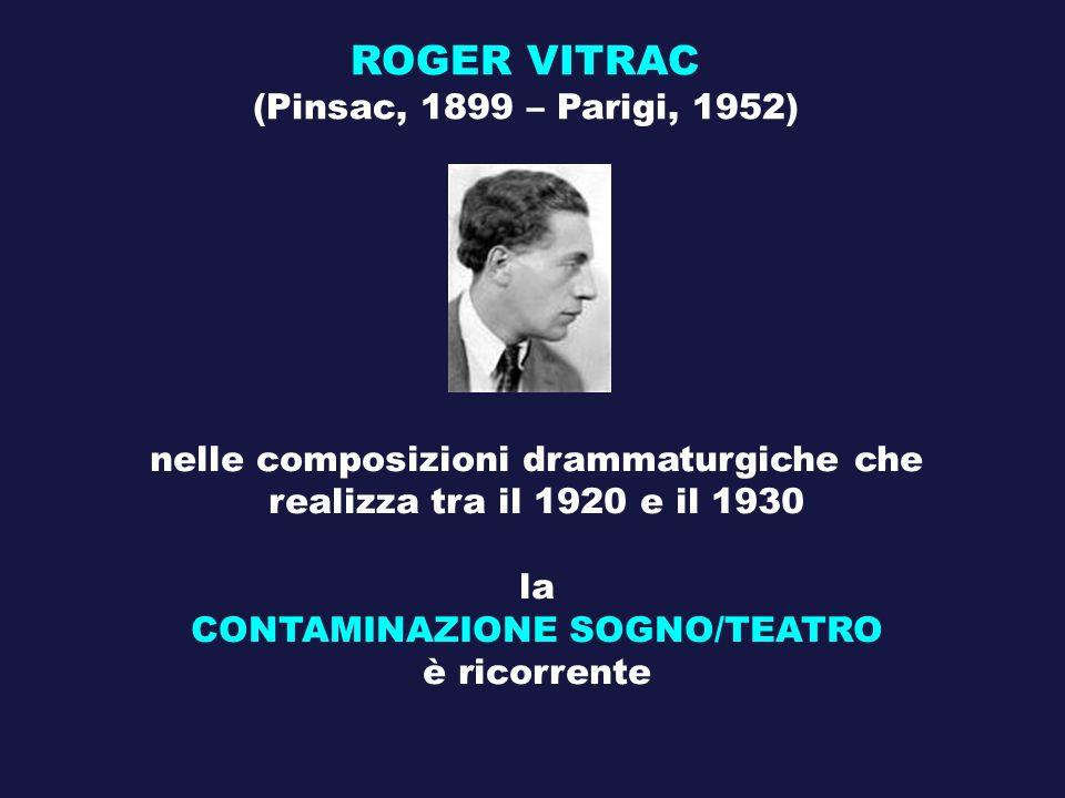 ROGER VITRAC (Pinsac, 1899 – Parigi, 1952) nelle composizioni drammaturgiche che realizza tra il 1920 e il 1930 la CONTAMINAZIONE SOGNO/TEATRO è ricor