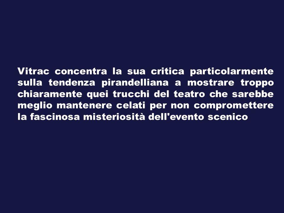 Vitrac concentra la sua critica particolarmente sulla tendenza pirandelliana a mostrare troppo chiaramente quei trucchi del teatro che sarebbe meglio