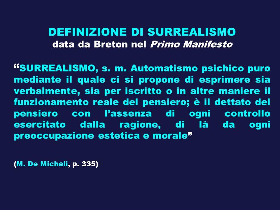 DEFINIZIONE DI SURREALISMO data da Breton nel Primo Manifesto SURREALISMO, s. m. Automatismo psichico puro mediante il quale ci si propone di esprimer