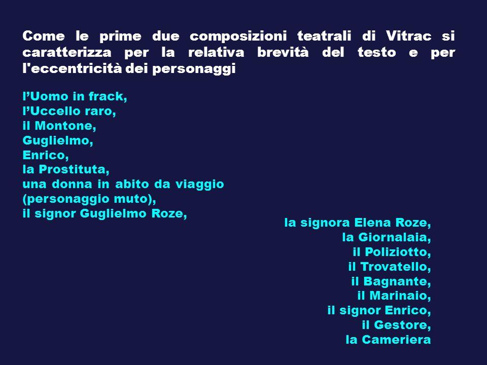 Come le prime due composizioni teatrali di Vitrac si caratterizza per la relativa brevità del testo e per l'eccentricità dei personaggi lUomo in frack