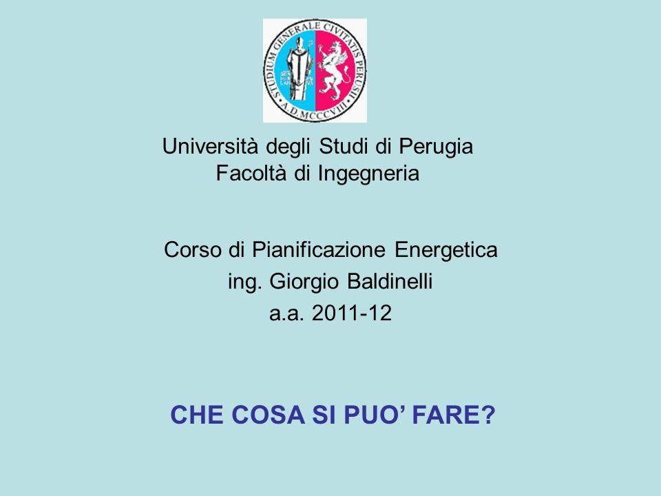 Università degli Studi di Perugia Facoltà di Ingegneria Corso di Pianificazione Energetica ing. Giorgio Baldinelli a.a. 2011-12 CHE COSA SI PUO FARE?