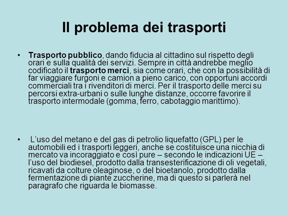 Il problema dei trasporti Trasporto pubblico, dando fiducia al cittadino sul rispetto degli orari e sulla qualità dei servizi.