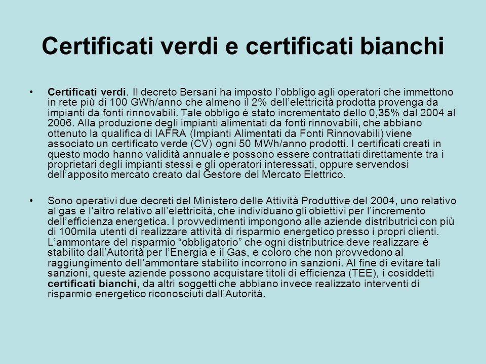 Certificati verdi e certificati bianchi Certificati verdi. Il decreto Bersani ha imposto lobbligo agli operatori che immettono in rete più di 100 GWh/
