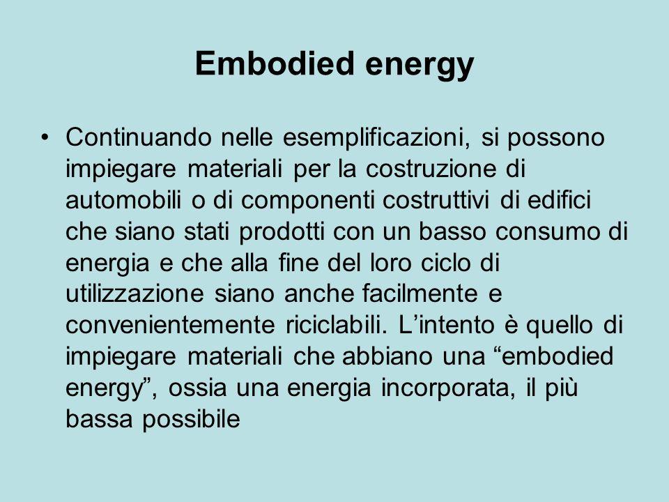 Embodied energy Continuando nelle esemplificazioni, si possono impiegare materiali per la costruzione di automobili o di componenti costruttivi di edifici che siano stati prodotti con un basso consumo di energia e che alla fine del loro ciclo di utilizzazione siano anche facilmente e convenientemente riciclabili.