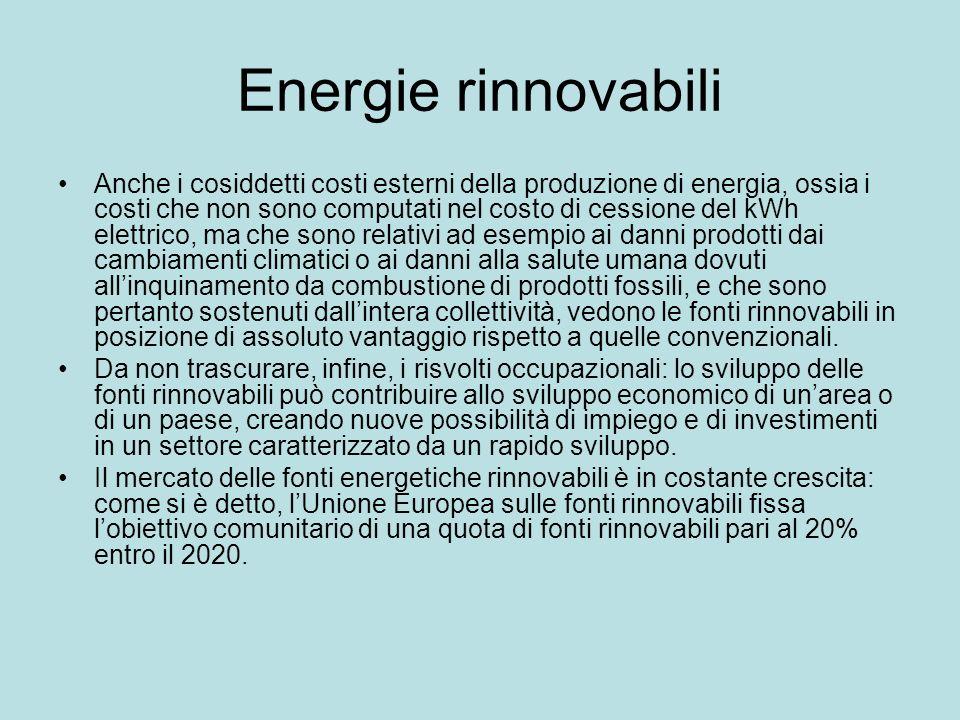 Energie rinnovabili Anche i cosiddetti costi esterni della produzione di energia, ossia i costi che non sono computati nel costo di cessione del kWh e