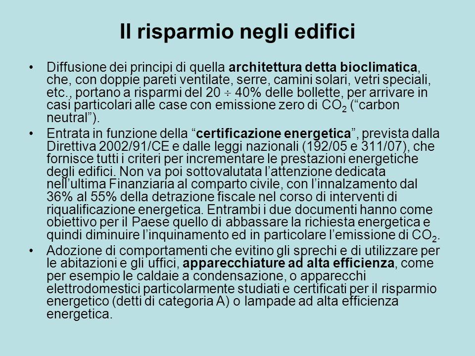 Il risparmio negli edifici Diffusione dei principi di quella architettura detta bioclimatica, che, con doppie pareti ventilate, serre, camini solari,
