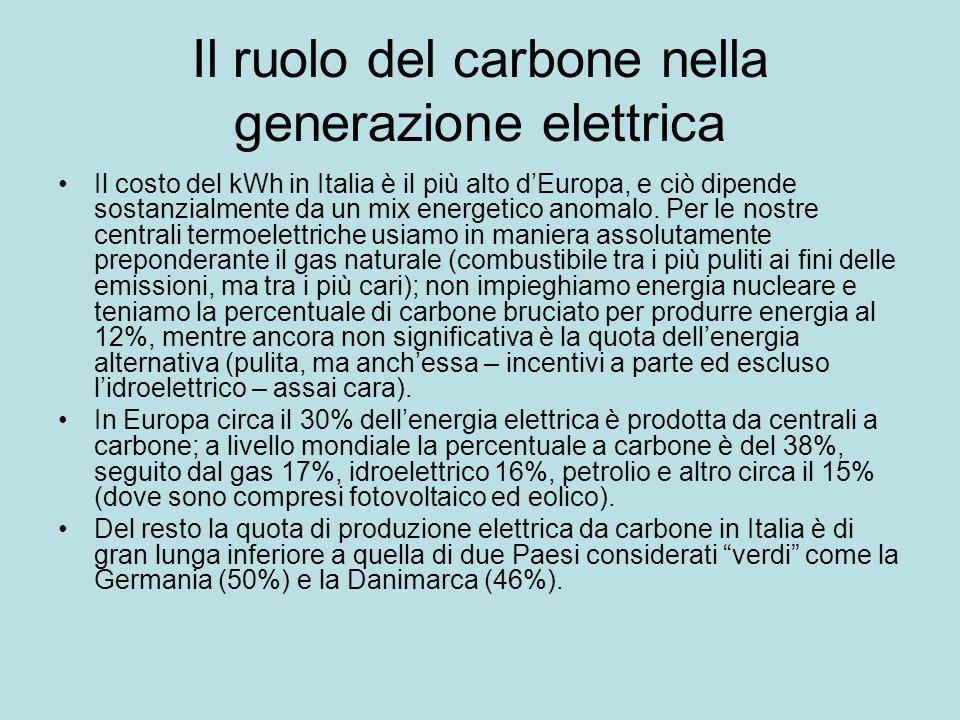 Il ruolo del carbone nella generazione elettrica Il costo del kWh in Italia è il più alto dEuropa, e ciò dipende sostanzialmente da un mix energetico anomalo.