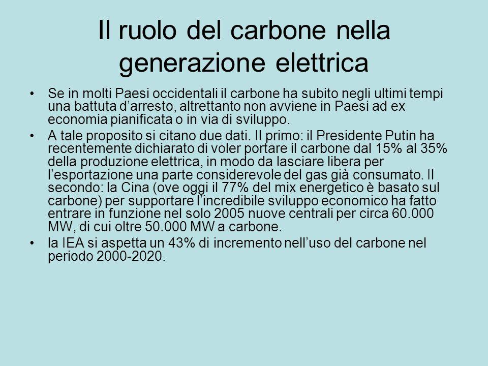 Il ruolo del carbone nella generazione elettrica Se in molti Paesi occidentali il carbone ha subito negli ultimi tempi una battuta darresto, altrettan