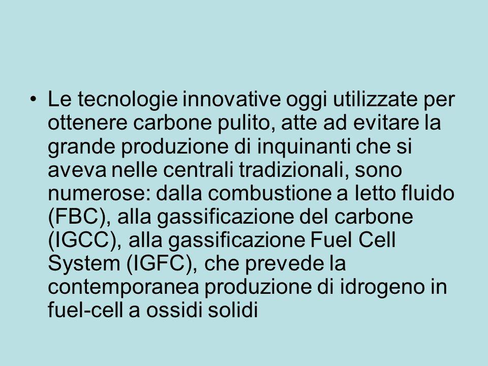 Le tecnologie innovative oggi utilizzate per ottenere carbone pulito, atte ad evitare la grande produzione di inquinanti che si aveva nelle centrali t