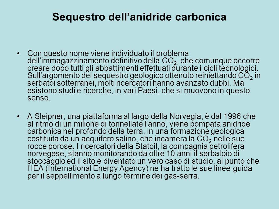 Sequestro dellanidride carbonica Con questo nome viene individuato il problema dellimmagazzinamento definitivo della CO 2, che comunque occorre creare dopo tutti gli abbattimenti effettuati durante i cicli tecnologici.