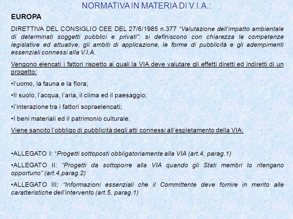 ITALIA Ad oltre 20 anni dalla emanazione della DIRETTIVA CEE DEL 27/6/1985 n.377, lItalia è ancora priva di una legge organica in materia di VIA.