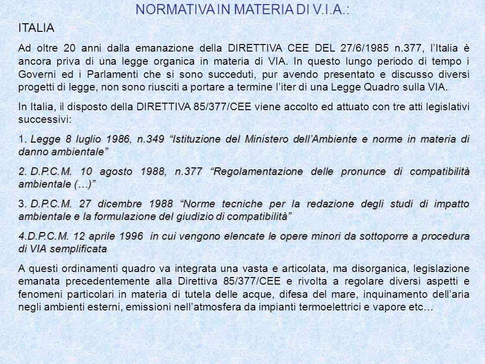 REGIONI ITALIANE DOTATE DI NORMATIVA SULLA VIA Solo 6 Regioni italiane non dispongono di normativa in materia di VIA.