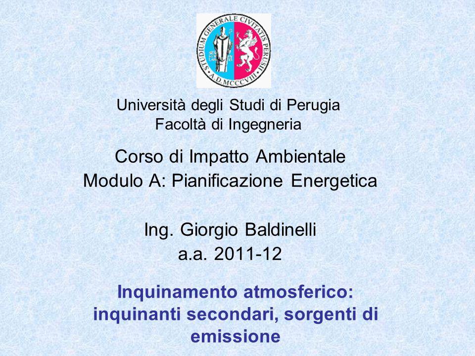 Università degli Studi di Perugia Facoltà di Ingegneria Inquinamento atmosferico: inquinanti secondari, sorgenti di emissione Corso di Impatto Ambient