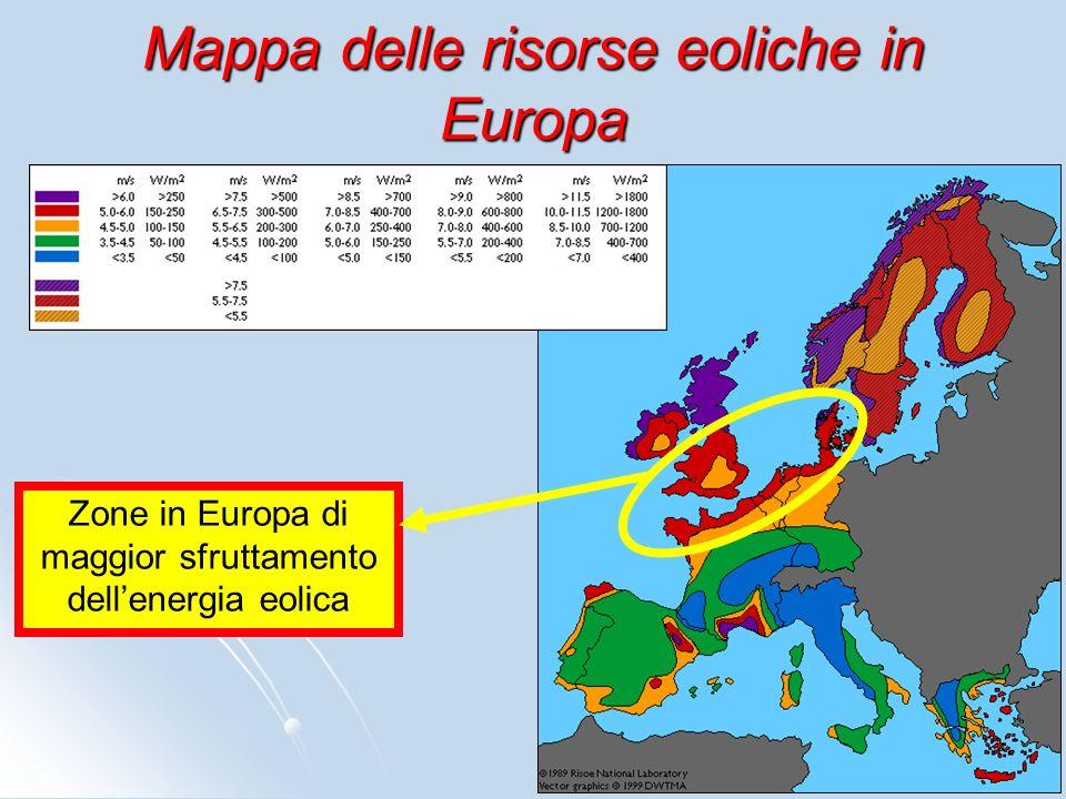 Mappa delle risorse eoliche in Europa Zone in Europa di maggior sfruttamento dellenergia eolica