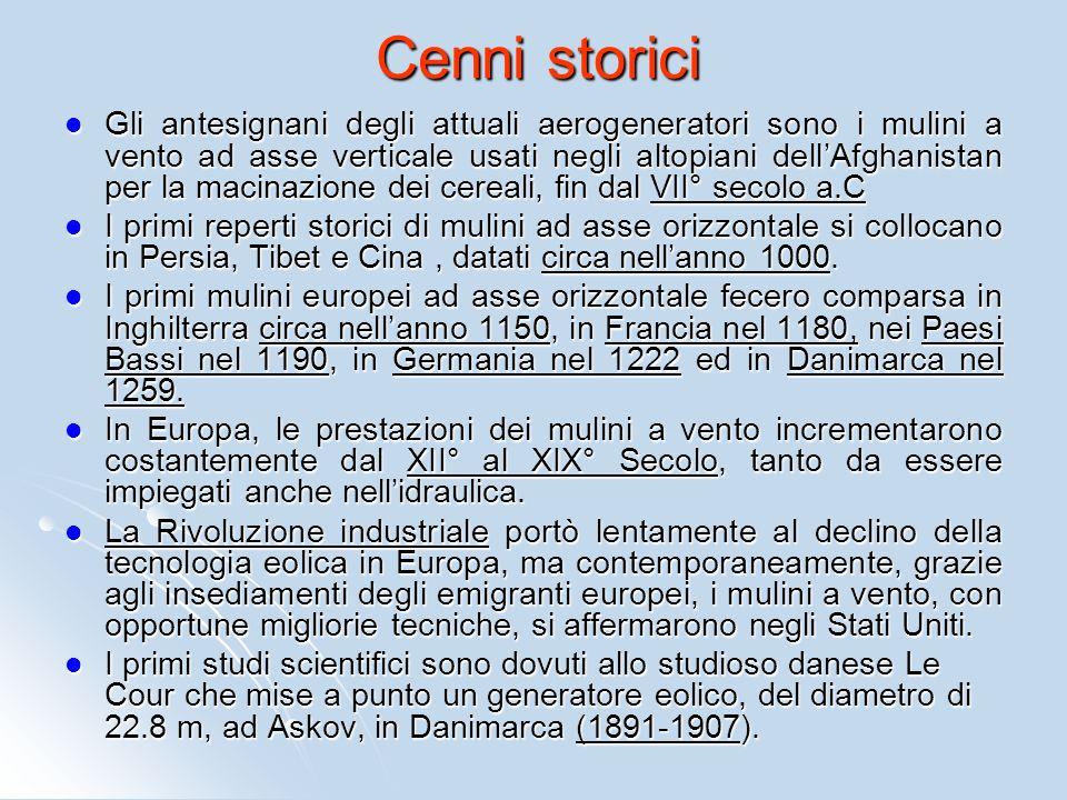 Cenni storici Gli antesignani degli attuali aerogeneratori sono i mulini a vento ad asse verticale usati negli altopiani dellAfghanistan per la macina