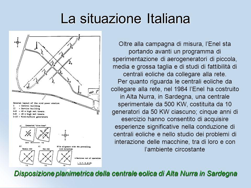 Disposizione planimetrica della centrale eolica di Alta Nurra in Sardegna La situazione Italiana Oltre alla campagna di misura, lEnel sta portando ava