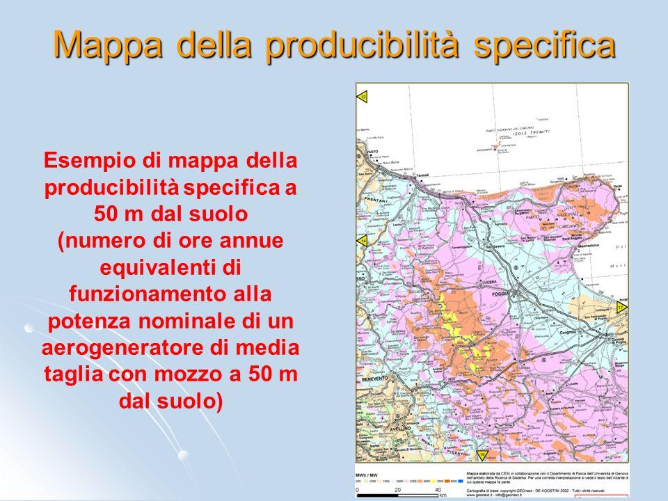 Mappa della producibilità specifica Esempio di mappa della producibilità specifica a 50 m dal suolo (numero di ore annue equivalenti di funzionamento