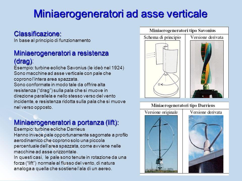 Classificazione: In base al principio di funzionamento Miniaerogeneratori a resistenza (drag) Miniaerogeneratori a resistenza (drag): Esempio: turbine