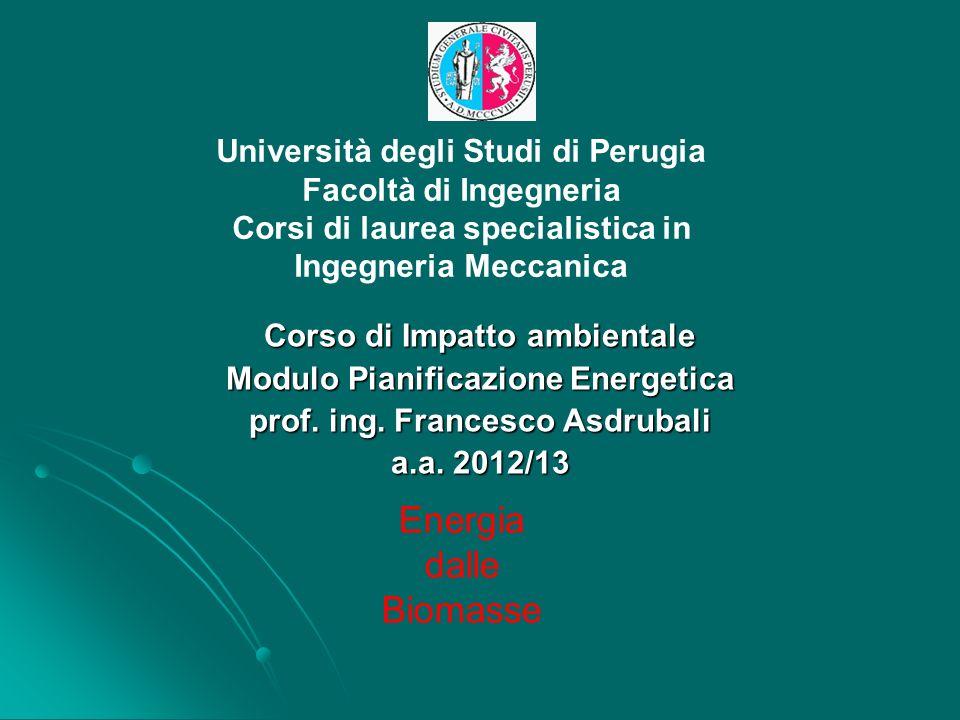 Università degli Studi di Perugia Facoltà di Ingegneria Corsi di laurea specialistica in Ingegneria Meccanica Corso di Impatto ambientale Modulo Piani