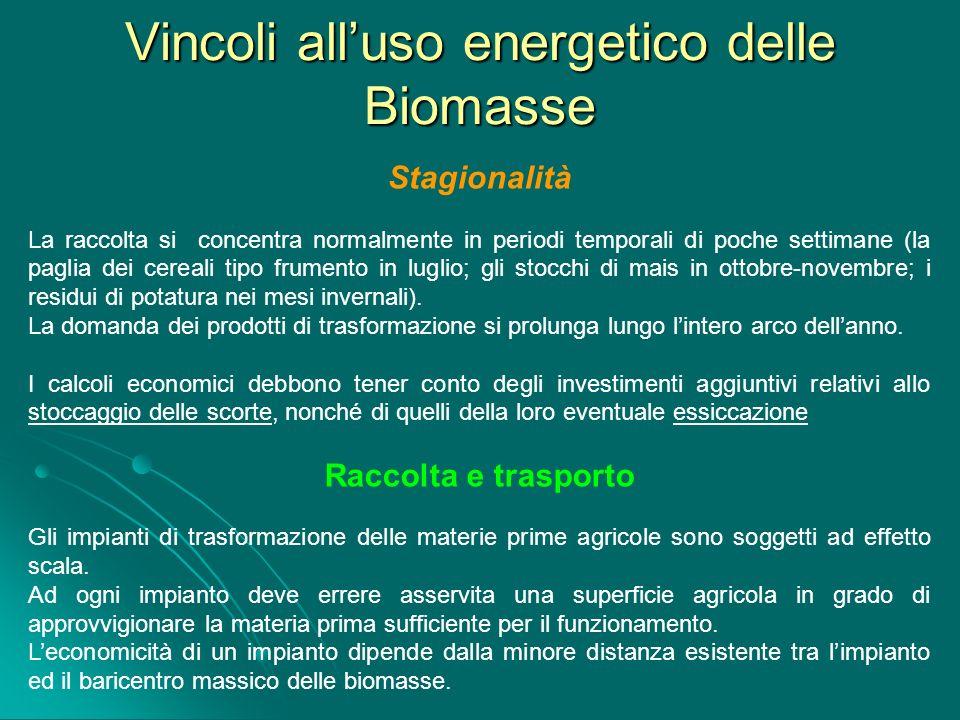 Vincoli alluso energetico delle Biomasse Stagionalità La raccolta si concentra normalmente in periodi temporali di poche settimane (la paglia dei cere