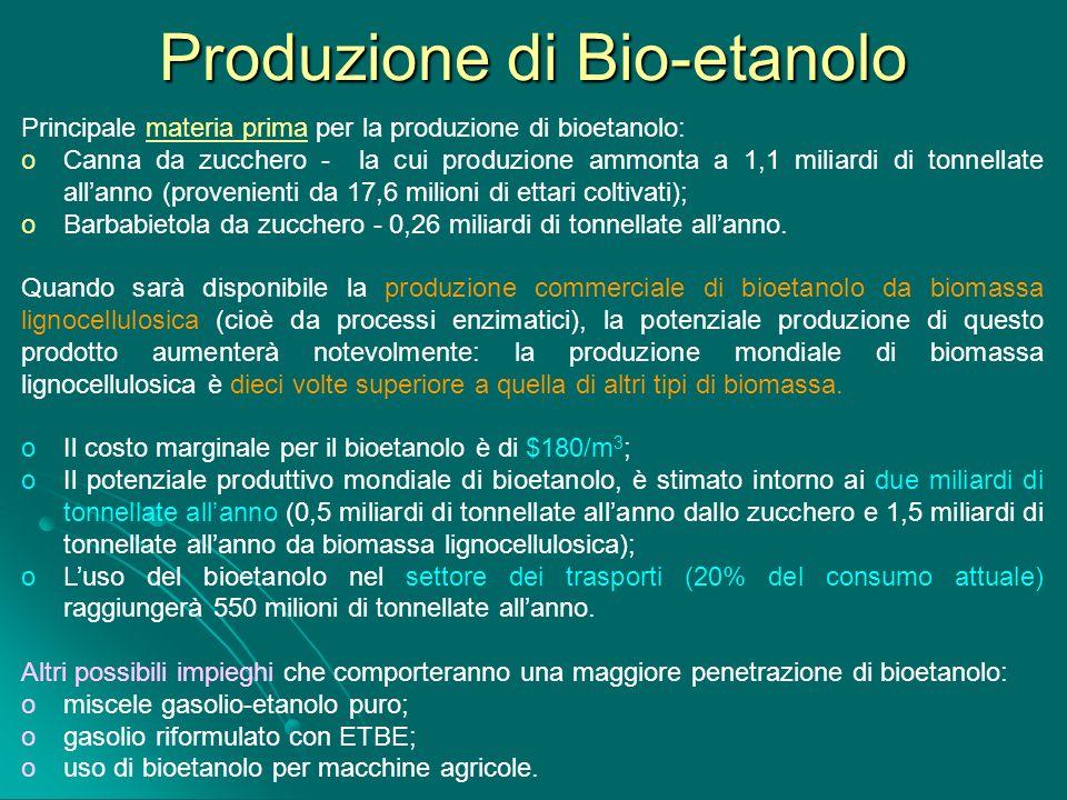 Produzione di Bio-etanolo Principale materia prima per la produzione di bioetanolo: o Canna da zucchero - la cui produzione ammonta a 1,1 miliardi di