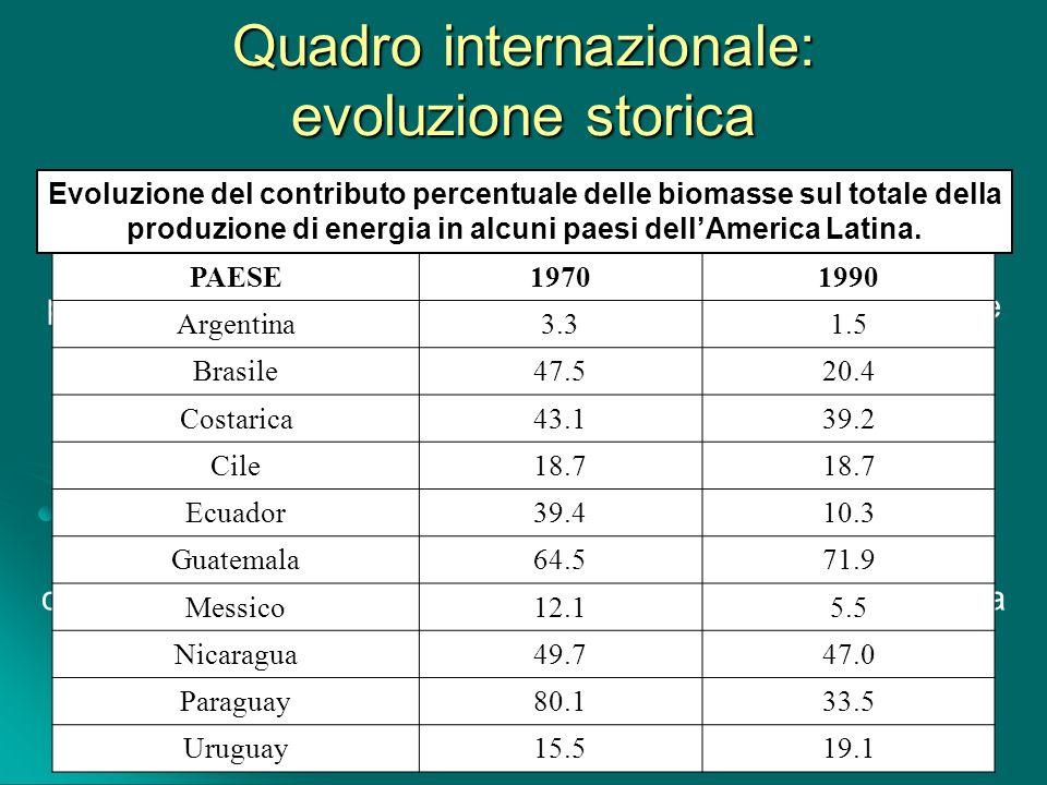 Quadro internazionale: evoluzione storica Le biomasse, a livello mondiale, costituiscono una delle principali fonti energetiche e la maggiore in assol