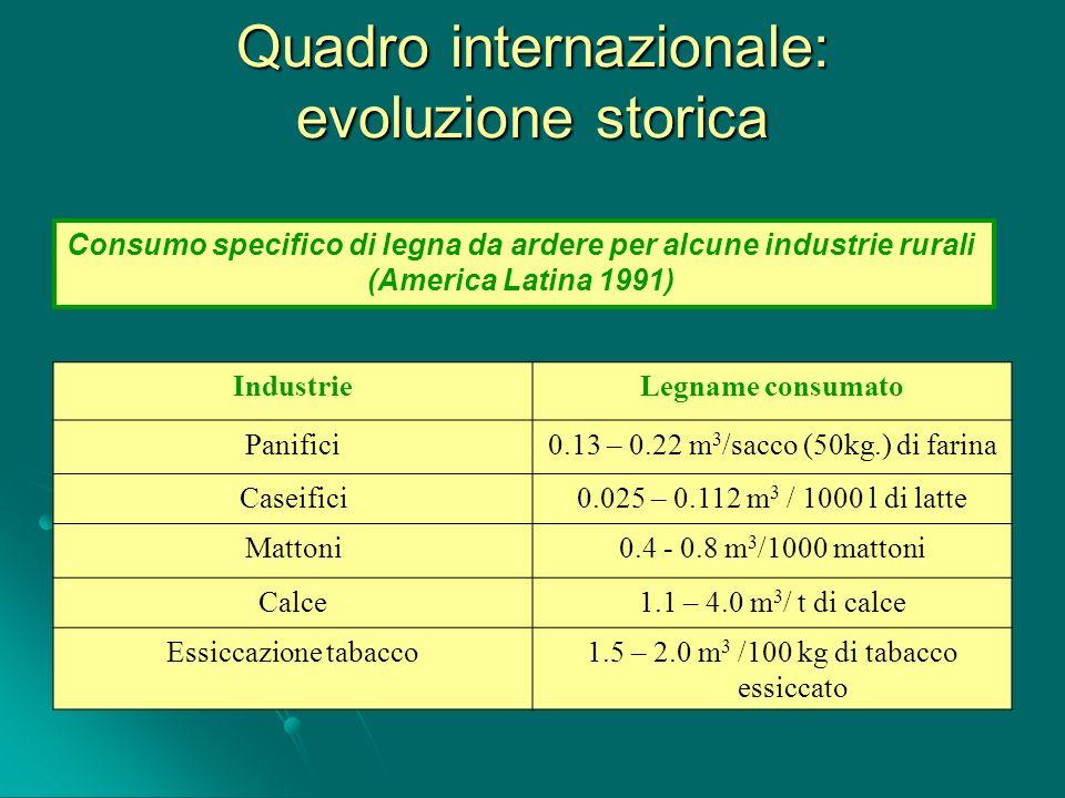 Consumo specifico di legna da ardere per alcune industrie rurali (America Latina 1991) Quadro internazionale: evoluzione storica IndustrieLegname cons