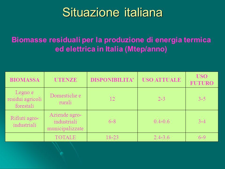 Situazione italiana BIOMASSAUTENZEDISPONIBILITAUSO ATTUALE USO FUTURO Legno e residui agricoli forestali Domestiche e rurali 122-33-5 Rifiuti agro- in