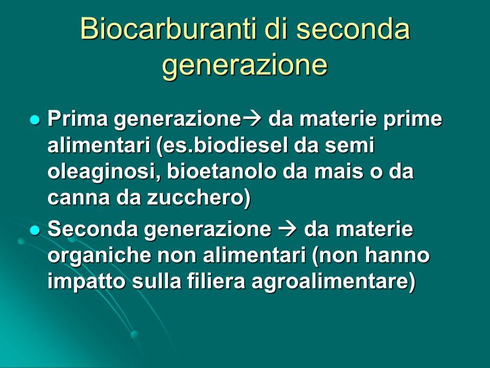 Biocarburanti di seconda generazione Prima generazione da materie prime alimentari (es.biodiesel da semi oleaginosi, bioetanolo da mais o da canna da