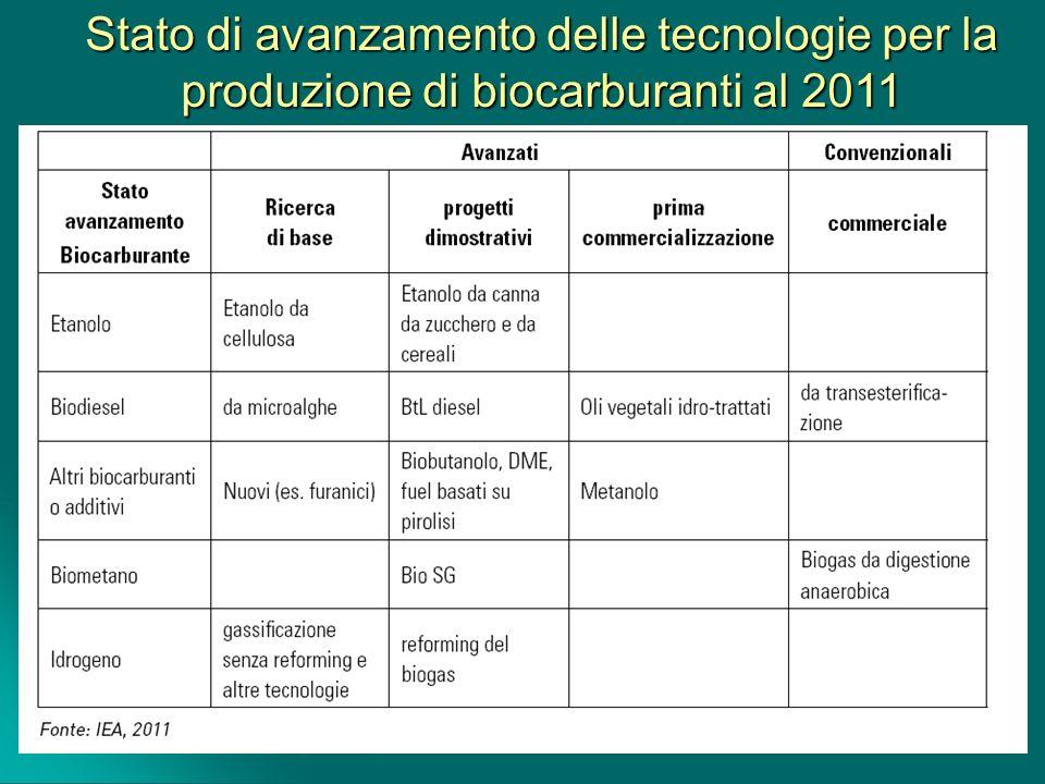 Stato di avanzamento delle tecnologie per la produzione di biocarburanti al 2011