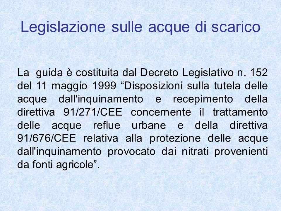 Legislazione sulle acque di scarico La guida è costituita dal Decreto Legislativo n. 152 del 11 maggio 1999 Disposizioni sulla tutela delle acque dall