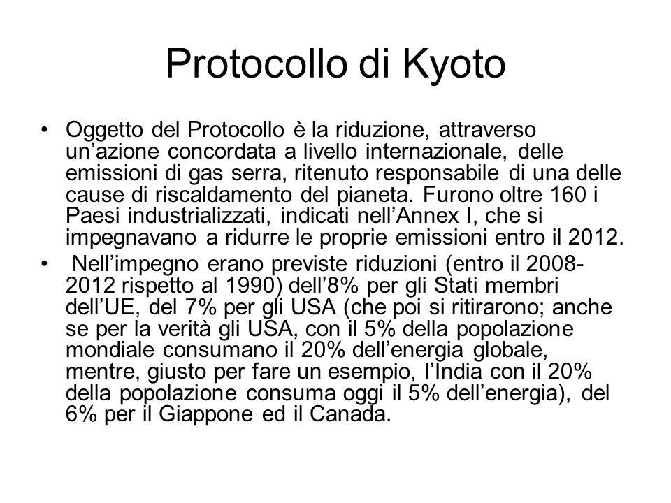 Protocollo di Kyoto Oggetto del Protocollo è la riduzione, attraverso unazione concordata a livello internazionale, delle emissioni di gas serra, rite