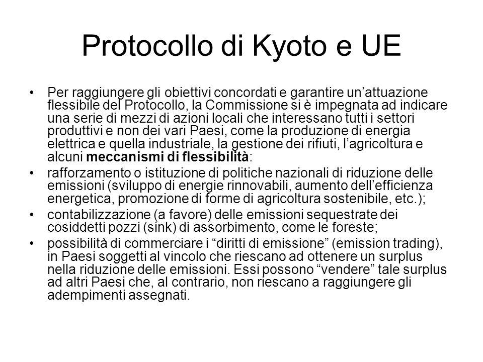 Protocollo di Kyoto e UE Per raggiungere gli obiettivi concordati e garantire unattuazione flessibile del Protocollo, la Commissione si è impegnata ad
