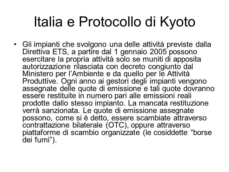 Italia e Protocollo di Kyoto Gli impianti che svolgono una delle attività previste dalla Direttiva ETS, a partire dal 1 gennaio 2005 possono esercitar