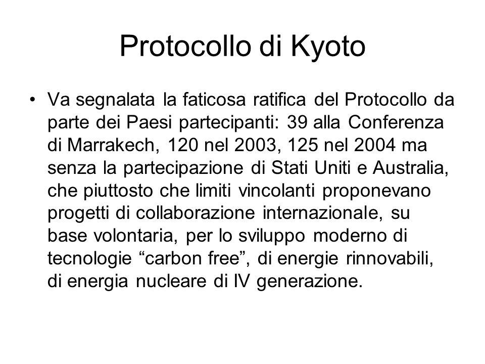 Protocollo di Kyoto Va segnalata la faticosa ratifica del Protocollo da parte dei Paesi partecipanti: 39 alla Conferenza di Marrakech, 120 nel 2003, 1