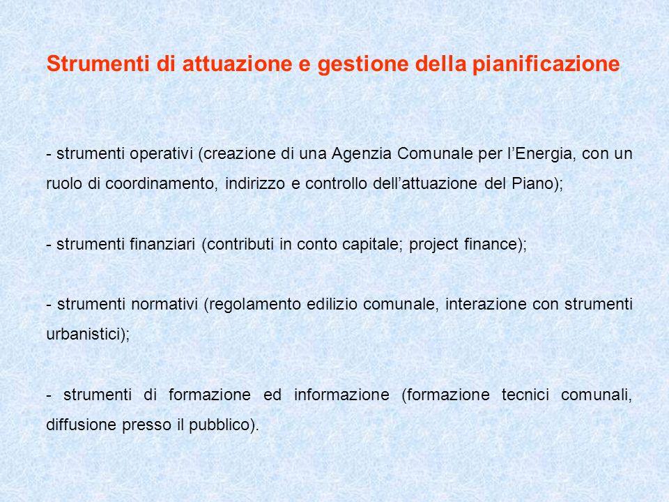 Strumenti di attuazione e gestione della pianificazione - strumenti operativi (creazione di una Agenzia Comunale per lEnergia, con un ruolo di coordin