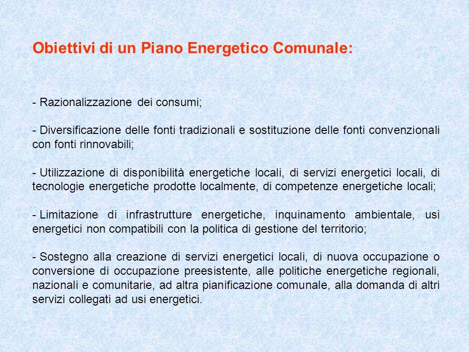 Obiettivi di un Piano Energetico Comunale: - Razionalizzazione dei consumi; - Diversificazione delle fonti tradizionali e sostituzione delle fonti con