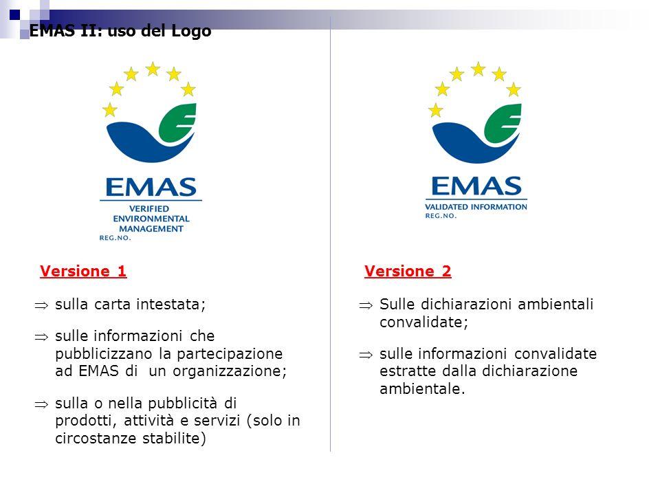 EMAS II: uso del Logo sulla carta intestata; sulle informazioni che pubblicizzano la partecipazione ad EMAS di un organizzazione; sulla o nella pubbli