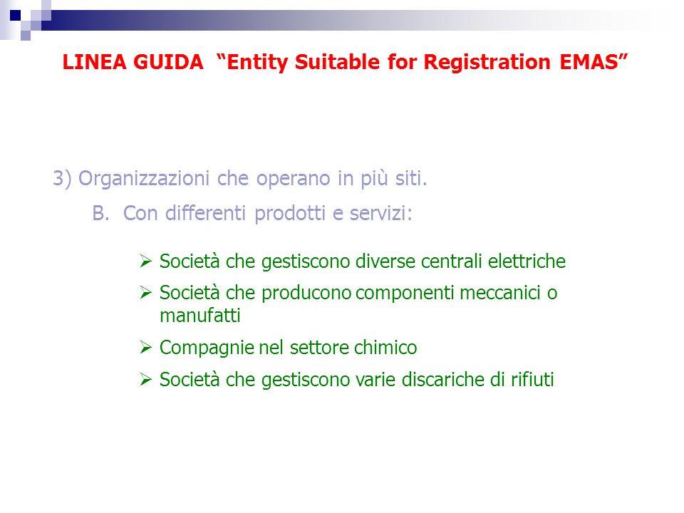 LINEA GUIDA Entity Suitable for Registration EMAS 3) Organizzazioni che operano in più siti. B. Con differenti prodotti e servizi: Società che gestisc